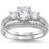 Round-cut Cubic Zirconia Bridal Set .925 Sterling Silver Ring Sizes 4-11