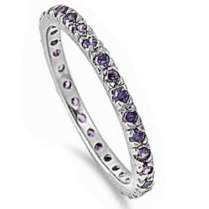 Stackable Amethyst .925 Sterling Silver Eternity Band Sizes 3-12
