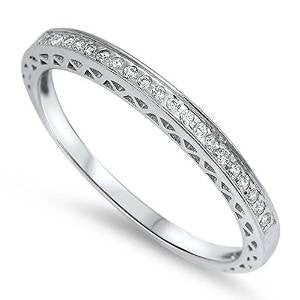 <span>CLOSEOUT!</span>Antique Style Pave Set Round Wedding Band .925 Sterling Silver Sizes 3-12