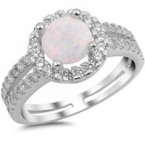 <span>CLOSEOUT!</span>White Opal & White Cubic Zirconia .925 Sterling Silver Ring Sizes 4-11