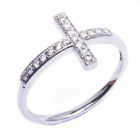 14kt White Gold Sideway Cross Diamond Ring