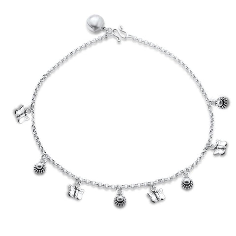 "Plain Charm .925 Sterling Silver Anklet 9"" Long"