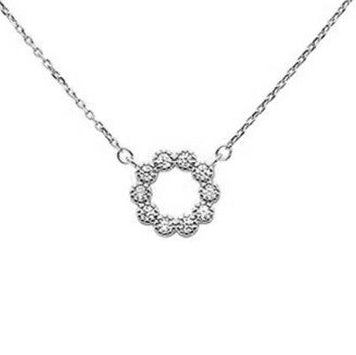 "Cubic Zirconia Flower Design .925 Sterling Silver Necklace 16""+1.5""ext"