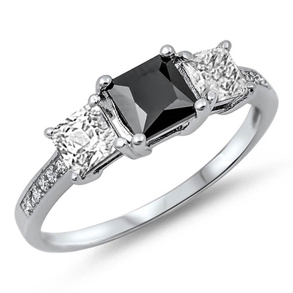 <span>CLOSEOUT!</span> Princess Cut Black Onyx & Cz .925 Sterling Silver Ring Sizes 4-12