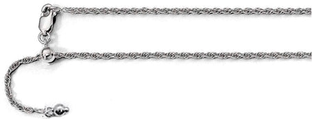030-MM Adjustable Rhodium Finished Rope Chain .925 Solid Sterling Silver Sizes 22""