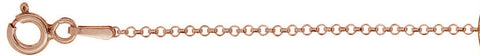 "020-1.8MM Rose Gold Plated Rolo Chain .925  Solid Sterling Silver Available in 16""- 20"" inches"