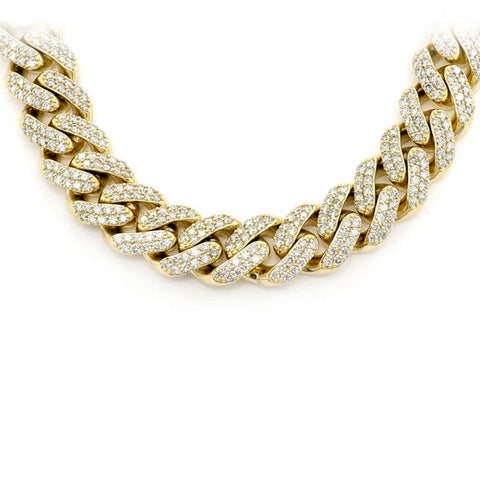 "<span style=""color:purple"">SPECIAL!</span> 5MM 4.49ct 14KT Yellow Gold Diamond Micro Pave Miami Round Cuban Link Necklace 22"""