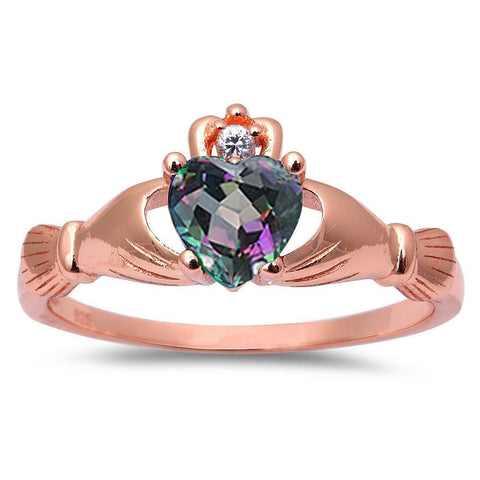 Rose Gold Plated Rainbow Cz & Cubic Zirconia Claddagh .925 Sterling Silver Ring Sizes 3-12