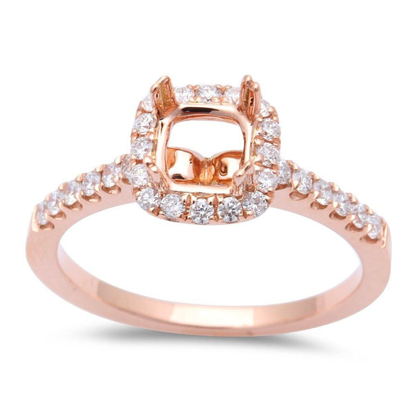 .35ct Halo Style Princess Cut Diamond Semi Mount Engagement Ring Sz 6.5 - Rose Gold