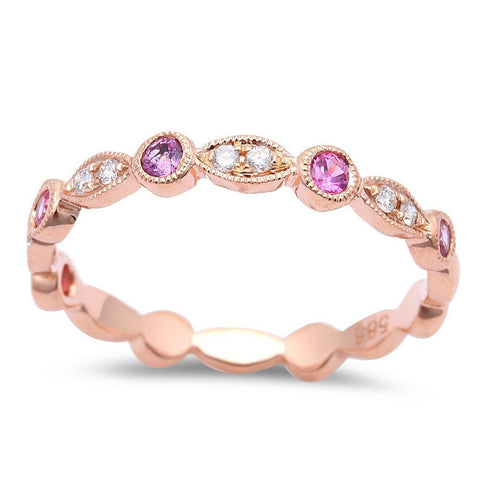 .29cts Pink Sapphire Wedding Anniversary bands 14kt Rose Gold Pink Sapphire