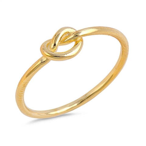 Infinity Heart Knot Yellow Gold Plated .925 Sterling Silver Ring Sizes 4-12