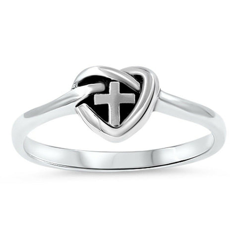 Heart Knot Cross Purity Band .925 Sterling Silver Ring Sizes 5-10