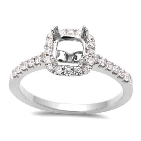 .13ct Round Halo Style Semi Mount Engagement Ring 14kt White or Rose Gold Sz 6.5