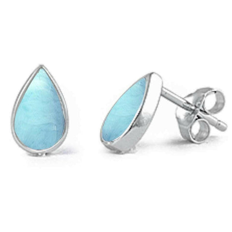 Teardrop Natural Larimar Stud .925 Sterling Silver Earrings