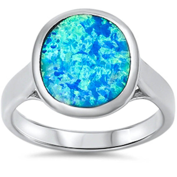 Solid Blue Opal .925 Sterling Silver Ring Sizes 5-10