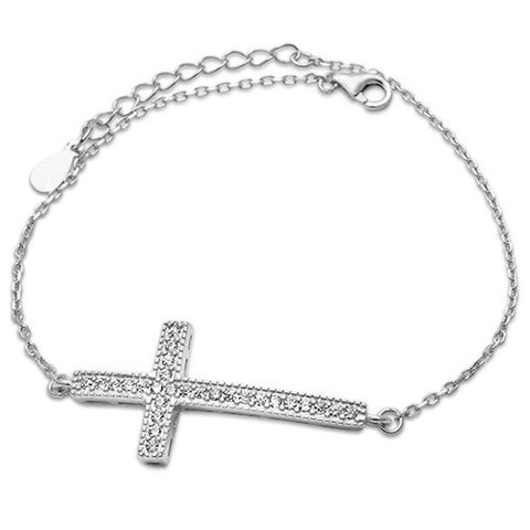 "<span>CLOSEOUT!</span>Pave CZ Cross .925 Sterling Silver Bracelet 7.5""+1""Ext"