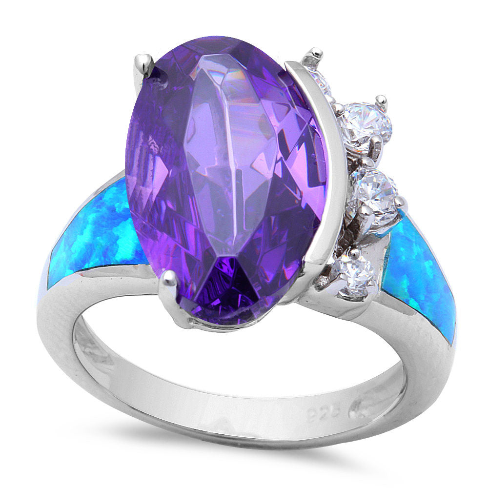 <span>CLOSEOUT!</span>.925 Sterling Silver Amethyst, Cz, & Blue Opal Ring Sizes 5-10