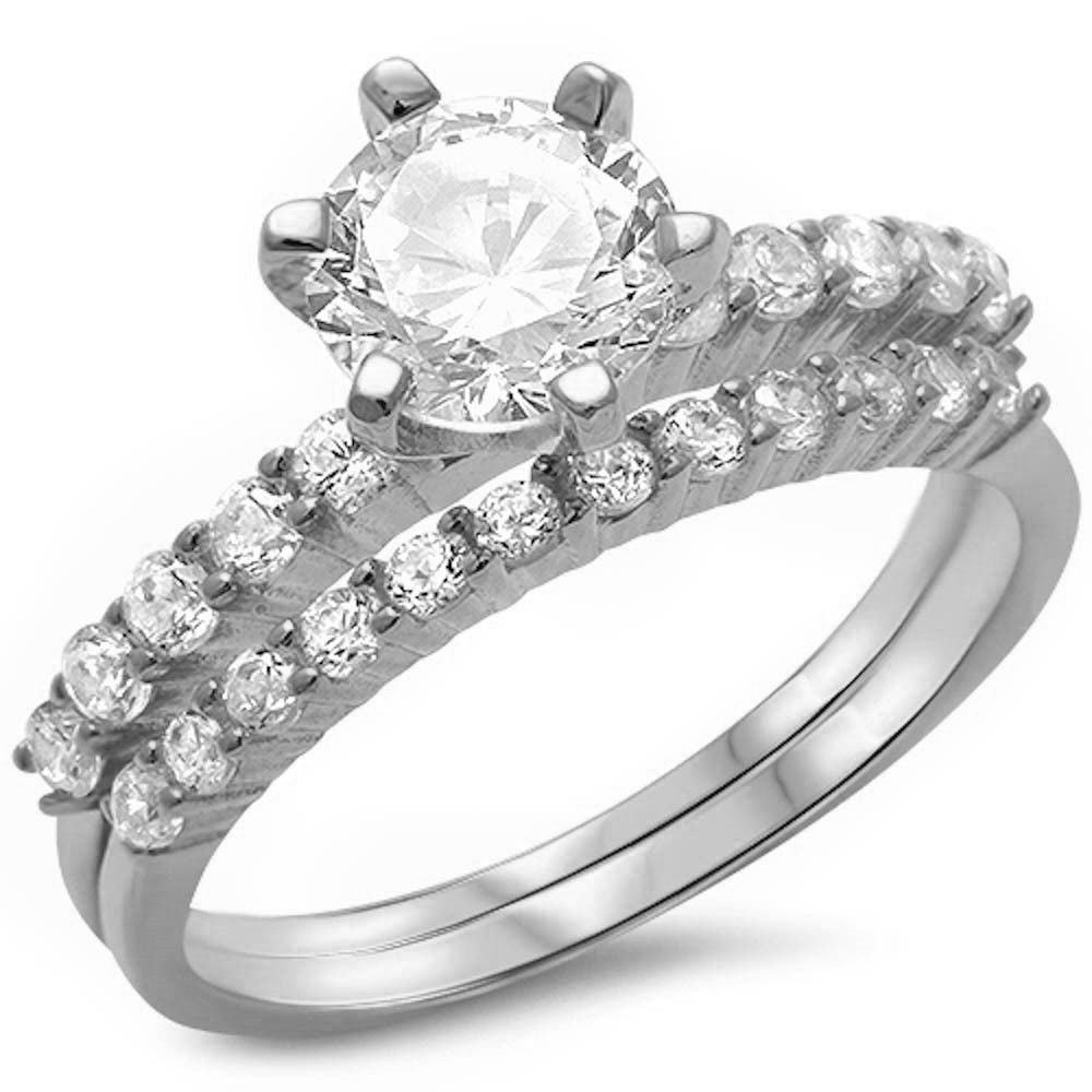 2Ct Round Cz Solitaire Wedding Set .925 Sterling Silver Sizes 4-12