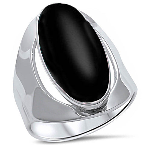 Oval Black Onyx Inlay .925 Sterling Silver Ring Sizes 5-12