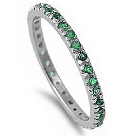 Stackable Green Emerald Cubic Zirconia .925 Sterling Silver Eternity Band Sizes 3-12