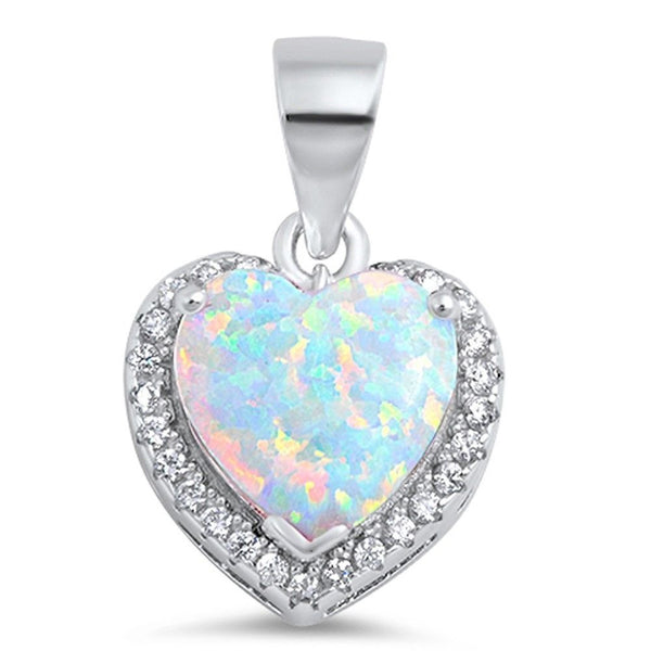 White Fire Opal Heart with CZ .925 Sterling Silver Pendant Necklace