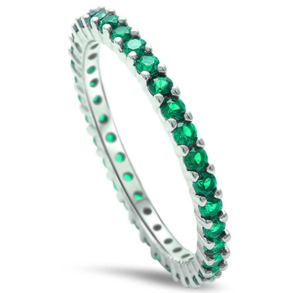 Stackable Emerald Cubic Zirconia .925 Sterling Silver Eternity Band Sizes 2-12