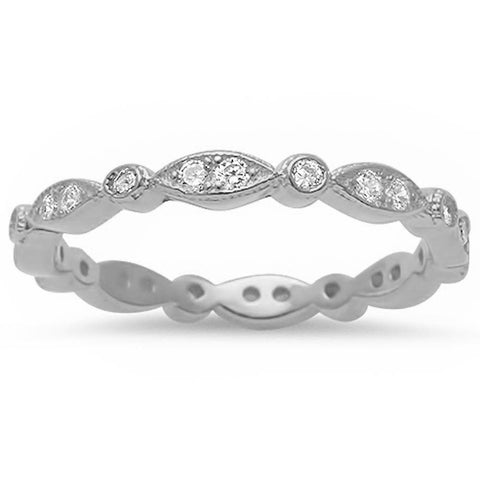 Marquis & Round Shape Cubic Zirconia Eternity Band .925 Sterling Silver Ring Sizes 3-12