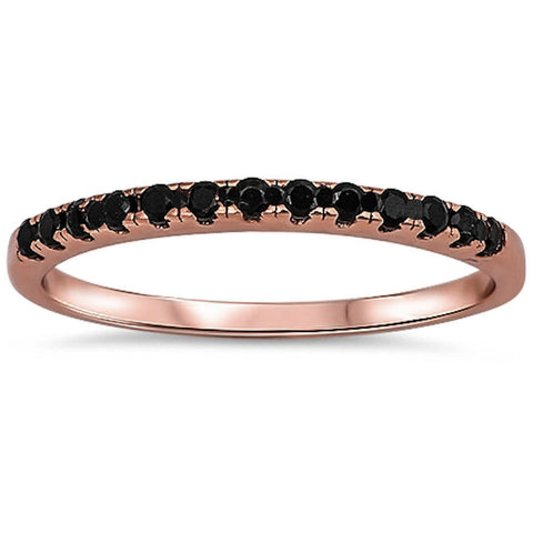 <span>CLOSEOUT!</span>Rose Gold Plated Black Onyx Eternity Band .925 Sterling Silver Ring Sizes 3-11