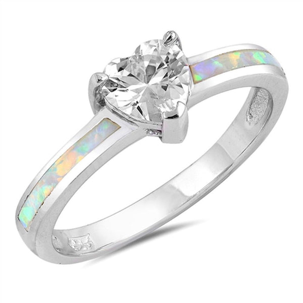 Heart Shape CZ with White Opal .925 Sterling Silver Ring Sizes 5-10