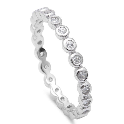 CZ Silver .925 Sterling Silver Stackable Band Sizes 3-11