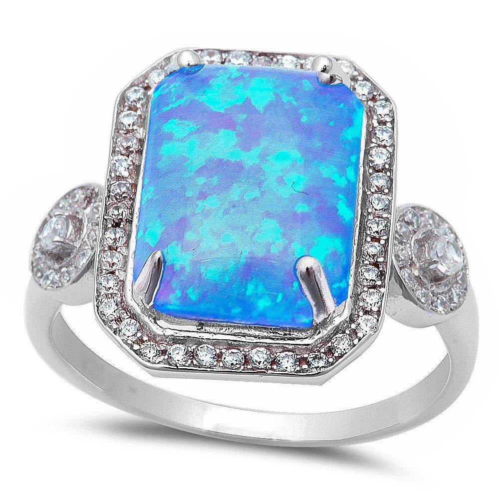 <span>CLOSEOUT!</span> Large Radiant Cut Blue Opal & Cubic Zirconia .925 Sterling Silver Ring Sizes 5-12