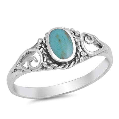 Vintage Style Turquoise  .925 Sterling Silver Ring Sizes 4-11