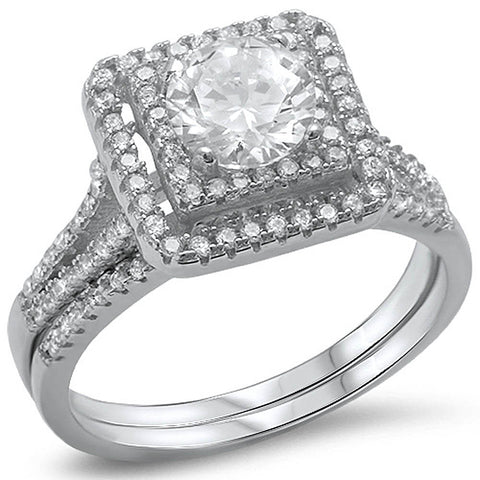 Fine Cz Wedding Set .925 Sterling Silver Ring Sizes 4-10