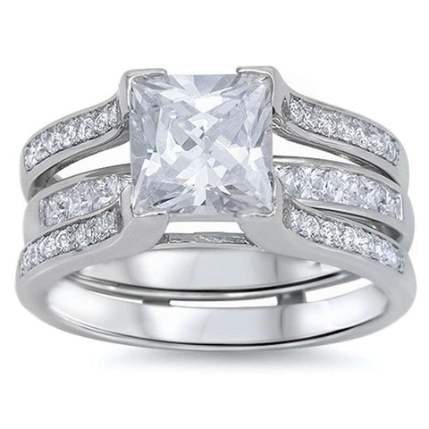 <span>CLOSEOUT!</span>4.50ct Princess & Round CZ 3 Rings Bridal Set .925 Sterling Silver Ring Sizes 5-12