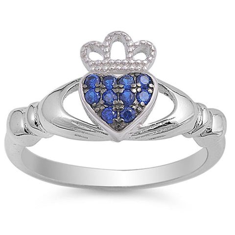 Claddagh Ring Blue Sapphire .925 Sterling Silver Ring Sizes 5-10