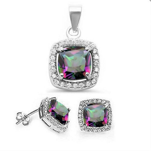 Cushion Rainbow Topaz & Cubic Zirconia .925 Sterling Silver Pendant & Earring Set