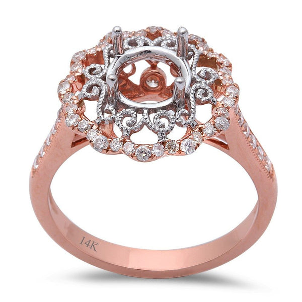 .49ct 14kt Rose Gold Round Diamond Semi Mount Engagement Ring Sz 6.5