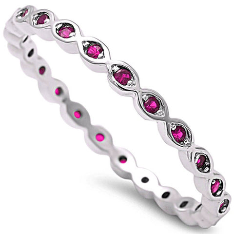 Ruby Eternity Band .925 Sterling Silver Ring Sizes 2-10