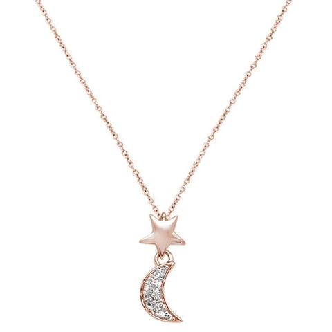 ".06cts 14kt Rose Gold  Crescent Moon Star Diamond Pendant Necklace 18"" Long"