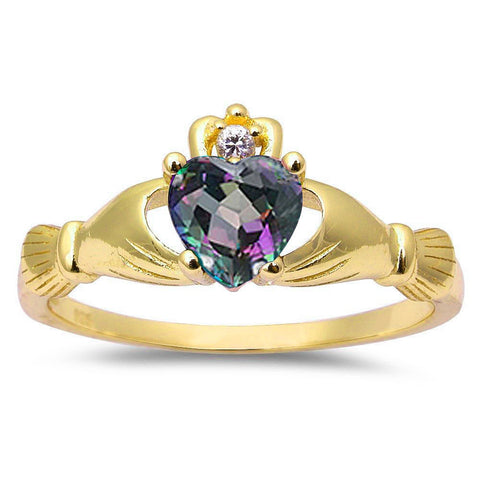 Yellow Gold Plated Rainbow Cz & Cubic Zirconia Claddagh .925 Sterling Silver Ring Sizes 3-12