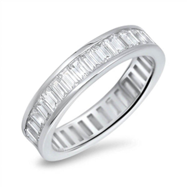 Baguette Cubic Zirconia Eternity Band .925 Sterling Silver Ring Sizes 5-10