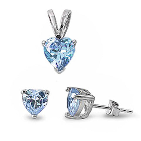 Aquamarine Heart Pendant & Earrings Set .925 Sterling Silver