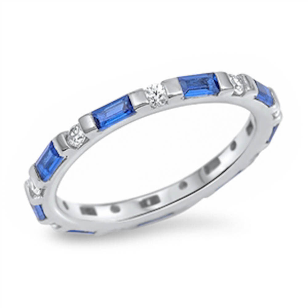 <span>CLOSEOUT!</span> Cz and Blue Sapphire Band .925 Sterling Silver Ring Sizes 4-10