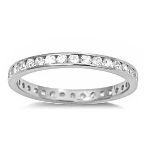 <span>CLOSEOUT!</span>Channel set Clear Cz .925 Sterling Silver Eternity Band Sizes 2-12
