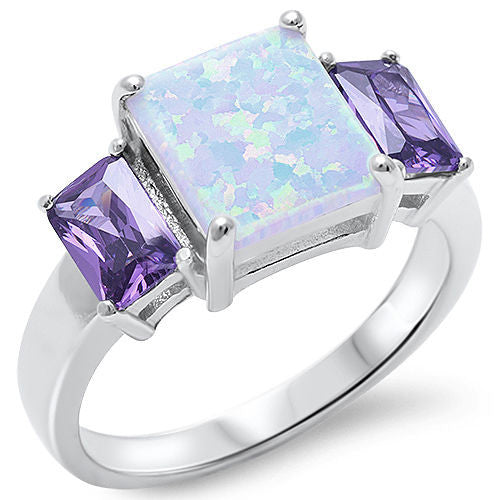 <span>CLOSEOUT!</span>White Fire Opal & Amethyst .925 Sterling Silver Ring Sizes 5-10