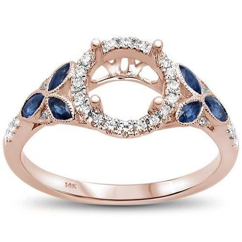 0.59cts 14k Rose Gold Marquise Blue Sapphire Semi-Mount Diamond Ring