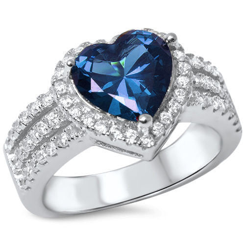 <span>CLOSEOUT!</span> 3ct Heart Shape Blue Sapphire & Cz .925 Sterling Silver Ring Sizes 4-11