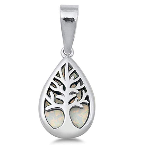Pear Shape White Opal Tree of Life .925 Sterling Silver Pendant