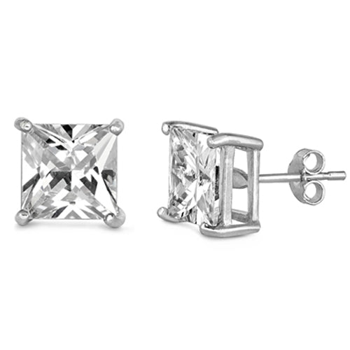 Casting Square Stud Earrings Push Back .925 Sterling Silver Sizes 2-8mm Available in 3 Colors!