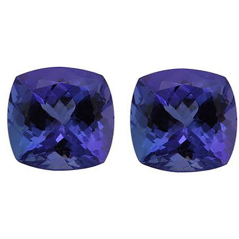 4.00ct 7.5mm Natural Cushion Cut Tanzanite Loose Gemstones Great for Earrings!